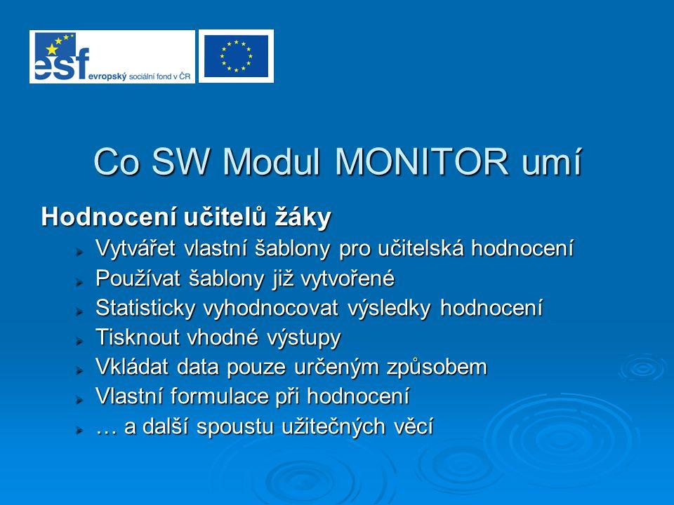 Co SW Modul MONITOR umí Hodnocení učitelů žáky  Vytvářet vlastní šablony pro učitelská hodnocení  Používat šablony již vytvořené  Statisticky vyhod
