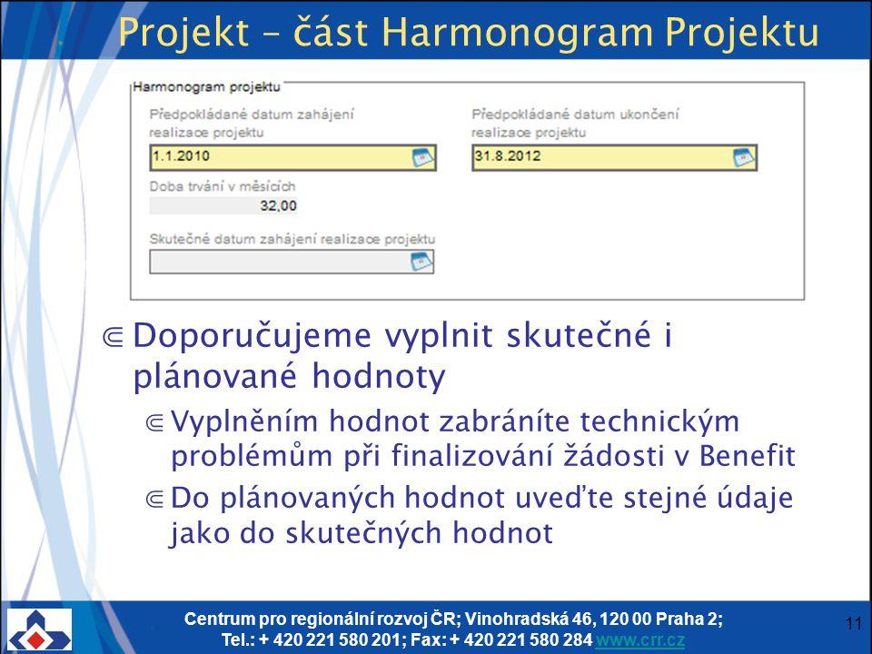 Centrum pro regionální rozvoj ČR; Vinohradská 46, 120 00 Praha 2; Tel.: + 420 221 580 201; Fax: + 420 221 580 284 www.crr.czwww.crr.cz 11 Projekt – čá