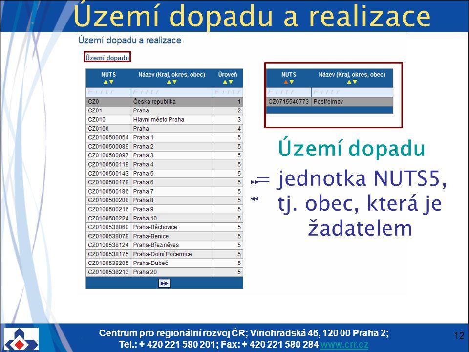 Centrum pro regionální rozvoj ČR; Vinohradská 46, 120 00 Praha 2; Tel.: + 420 221 580 201; Fax: + 420 221 580 284 www.crr.czwww.crr.cz 12 Území dopadu