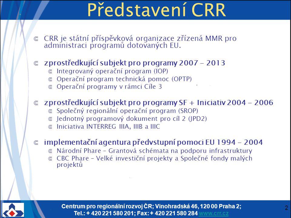 Centrum pro regionální rozvoj ČR; Vinohradská 46, 120 00 Praha 2; Tel.: + 420 221 580 201; Fax: + 420 221 580 284 www.crr.czwww.crr.cz 3 Důležité odkazy k IOP ⋐www.strukturalni-fondy.cz/iopwww.strukturalni-fondy.cz/iop ⋐www.crr.czwww.crr.cz ⋐www.eu-zadost.cz – internetová žádost Benefitwww.eu-zadost.cz