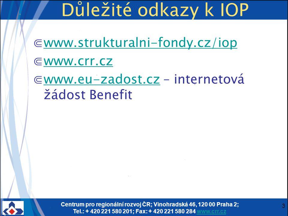 Centrum pro regionální rozvoj ČR; Vinohradská 46, 120 00 Praha 2; Tel.: + 420 221 580 201; Fax: + 420 221 580 284 www.crr.czwww.crr.cz 3 Důležité odka