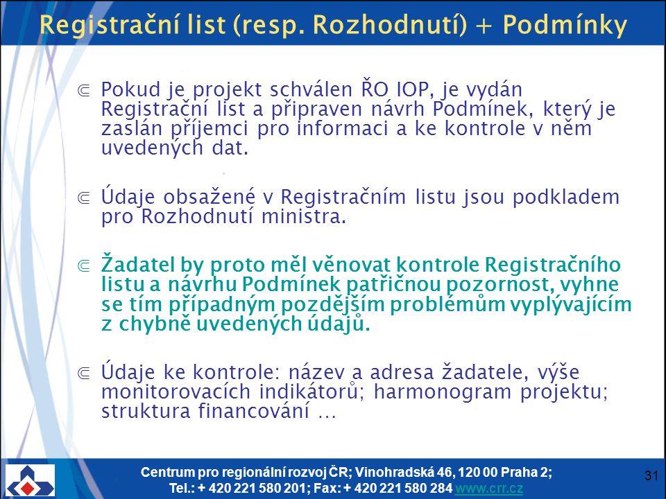 Centrum pro regionální rozvoj ČR; Vinohradská 46, 120 00 Praha 2; Tel.: + 420 221 580 201; Fax: + 420 221 580 284 www.crr.czwww.crr.cz 31 Registrační list (resp.