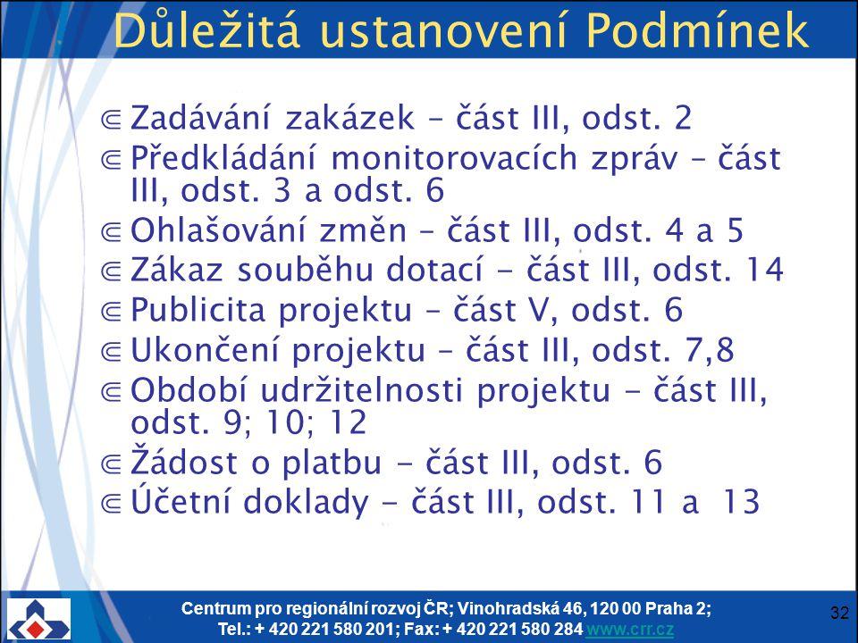 Centrum pro regionální rozvoj ČR; Vinohradská 46, 120 00 Praha 2; Tel.: + 420 221 580 201; Fax: + 420 221 580 284 www.crr.czwww.crr.cz 32 Důležitá ust