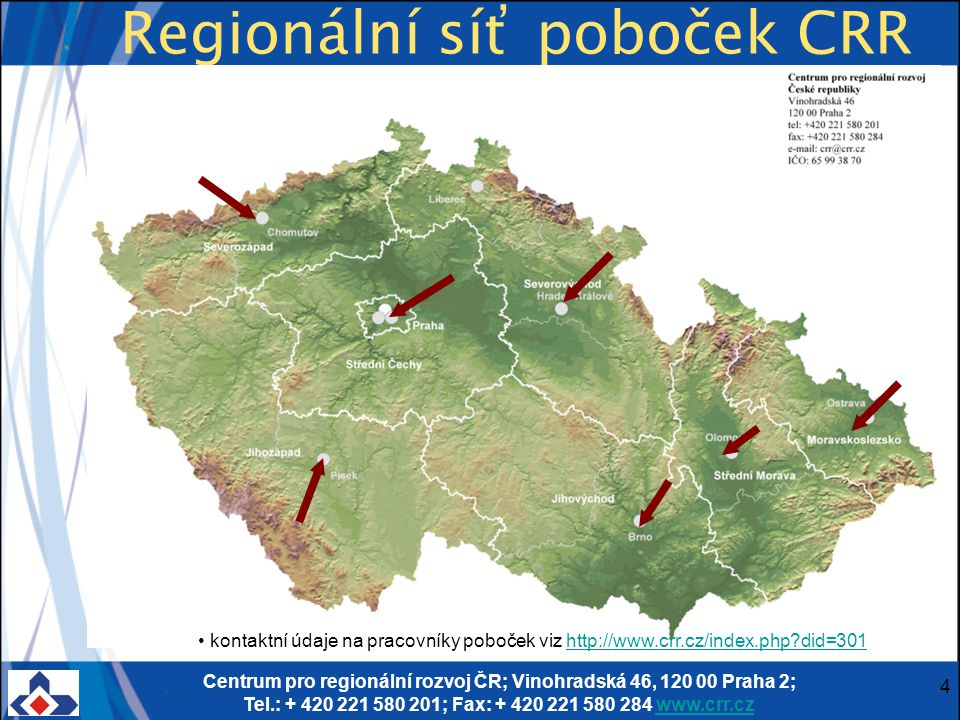 Centrum pro regionální rozvoj ČR; Vinohradská 46, 120 00 Praha 2; Tel.: + 420 221 580 201; Fax: + 420 221 580 284 www.crr.czwww.crr.cz 25 Vyplňování žádosti - Doporučení ⋐Při přípravě žádosti o dotaci doporučujeme konzultovat s příslušnou pobočku CRR, minimalizujete tak problémy, které mohou vzniknout při kontrole žádosti, a urychlíte průběh její administrace.