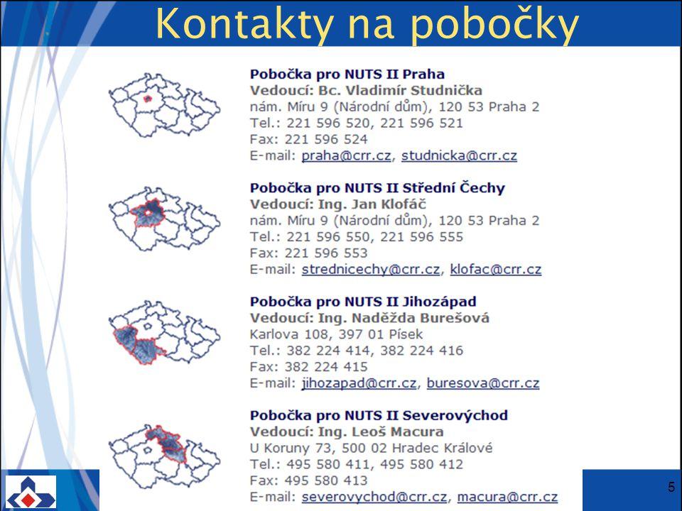 Centrum pro regionální rozvoj ČR; Vinohradská 46, 120 00 Praha 2; Tel.: + 420 221 580 201; Fax: + 420 221 580 284 www.crr.czwww.crr.cz 5 Kontakty na pobočky