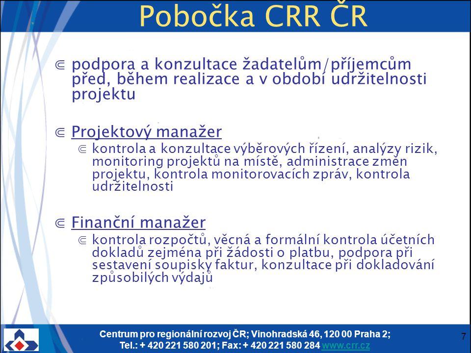 Centrum pro regionální rozvoj ČR; Vinohradská 46, 120 00 Praha 2; Tel.: + 420 221 580 201; Fax: + 420 221 580 284 www.crr.czwww.crr.cz 7 Pobočka CRR Č