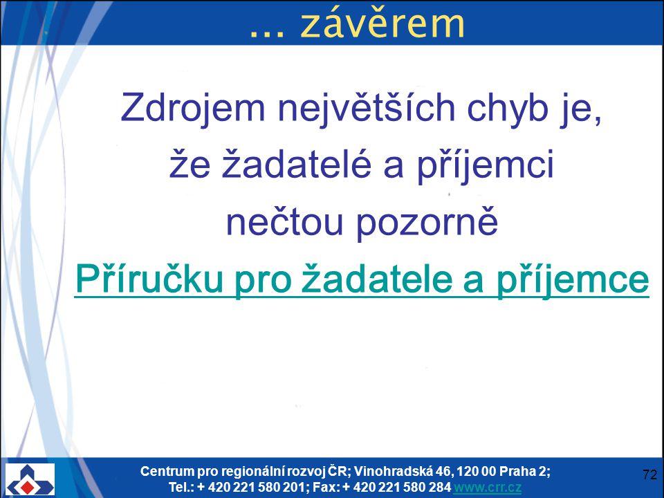 Centrum pro regionální rozvoj ČR; Vinohradská 46, 120 00 Praha 2; Tel.: + 420 221 580 201; Fax: + 420 221 580 284 www.crr.czwww.crr.cz 72... závěrem Z