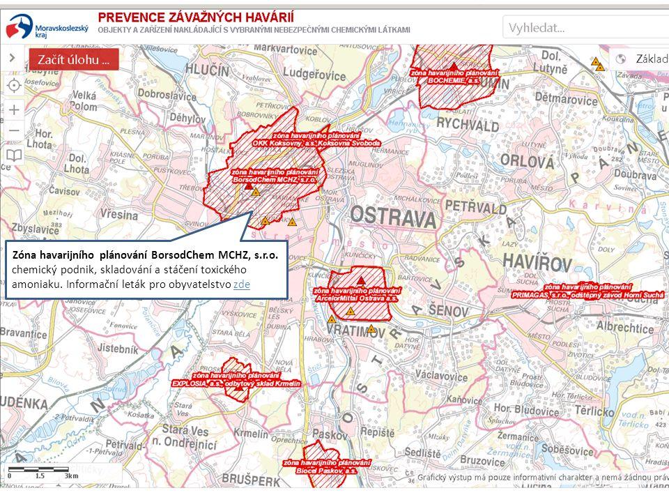 Zóna havarijního plánování BorsodChem MCHZ, s.r.o. chemický podnik, skladování a stáčení toxického amoniaku. Informační leták pro obyvatelstvo zde
