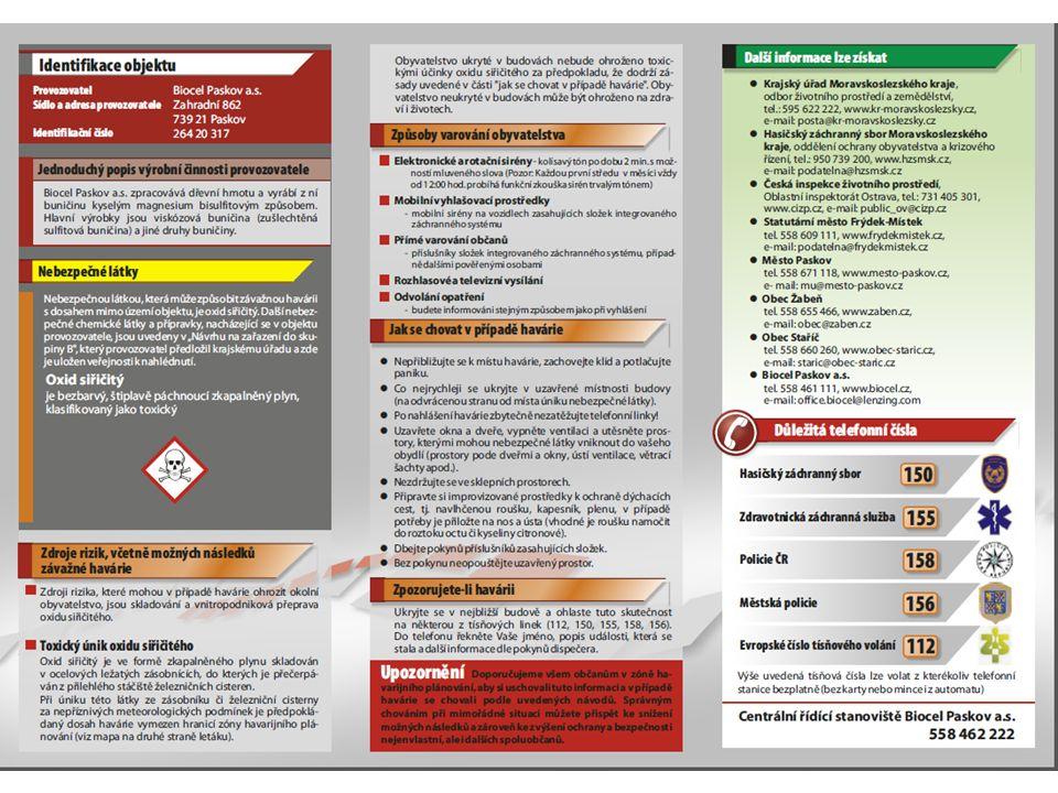 3. Informace veřejnosti o vzniku a dopadech závažné havárie