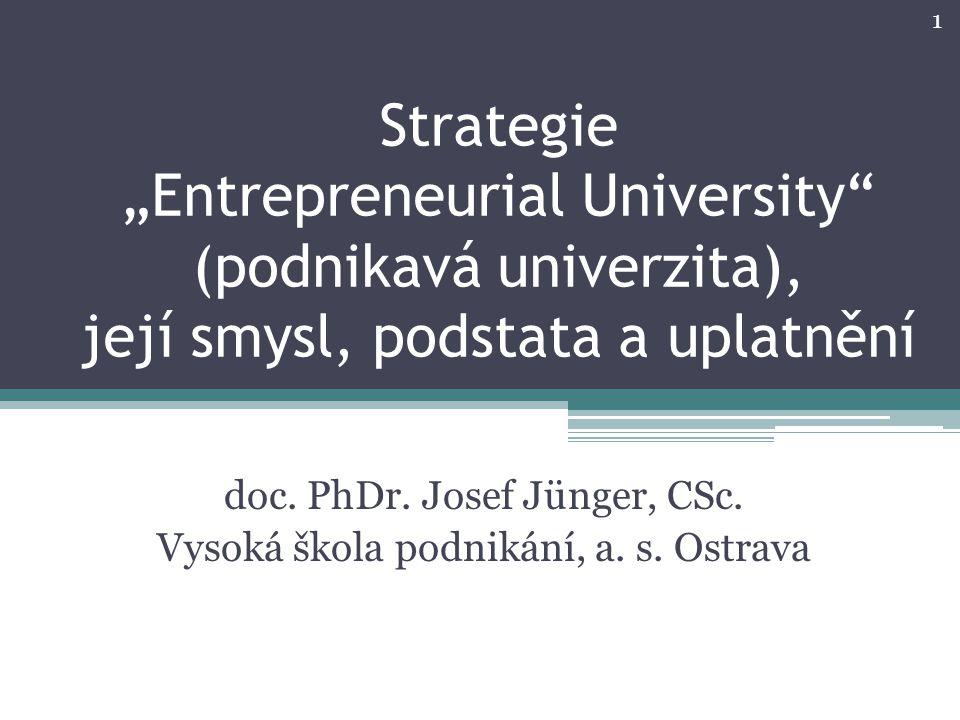 """Strategie """"Entrepreneurial University (podnikavá univerzita), její smysl, podstata a uplatnění doc."""