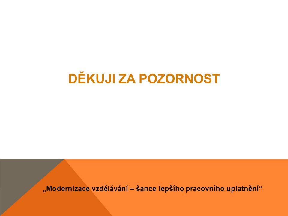 """""""Modernizace vzdělávání – šance lepšího pracovního uplatnění"""" DĚKUJI ZA POZORNOST"""