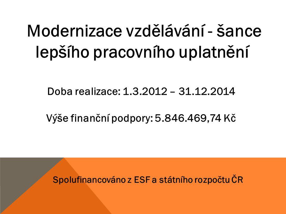 Modernizace vzdělávání - šance lepšího pracovního uplatnění Doba realizace: 1.3.2012 – 31.12.2014 Výše finanční podpory: 5.846.469,74 Kč Spolufinancov