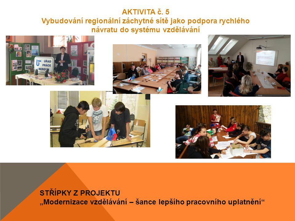 """STŘÍPKY Z PROJEKTU """"Modernizace vzdělávání – šance lepšího pracovního uplatnění"""" AKTIVITA č. 5 Vybudování regionální záchytné sítě jako podpora rychlé"""