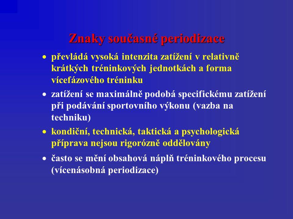 Znaky současné periodizace  převládá vysoká intenzita zatížení v relativně krátkých tréninkových jednotkách a forma vícefázového tréninku  zatížení se maximálně podobá specifickému zatížení při podávání sportovního výkonu (vazba na techniku)  kondiční, technická, taktická a psychologická příprava nejsou rigorózně oddělovány  často se mění obsahová náplň tréninkového procesu (vícenásobná periodizace)