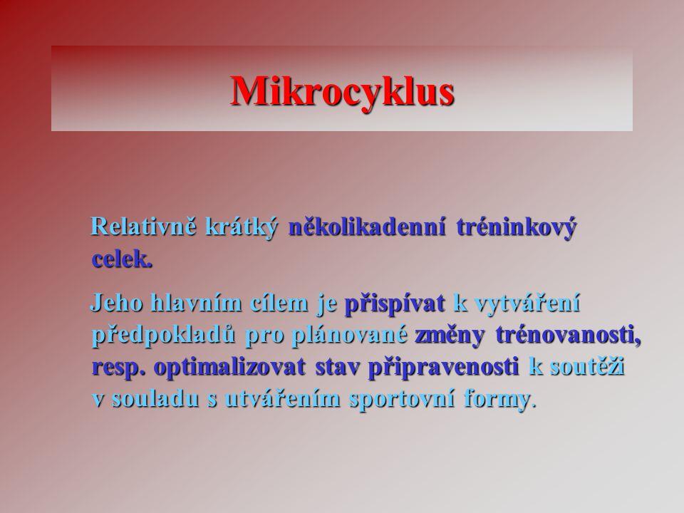 Mikrocyklus Relativně krátký několikadenní tréninkový celek. Relativně krátký několikadenní tréninkový celek. Jeho hlavním cílem je přispívat k vytvář