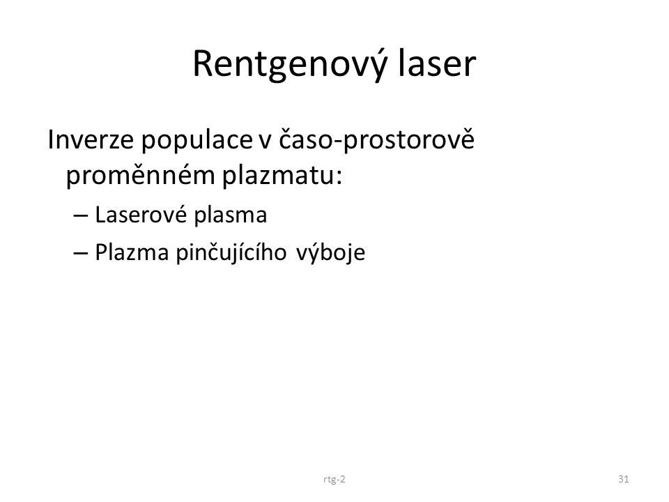 Rentgenový laser Inverze populace v časo-prostorově proměnném plazmatu: – Laserové plasma – Plazma pinčujícího výboje rtg-231