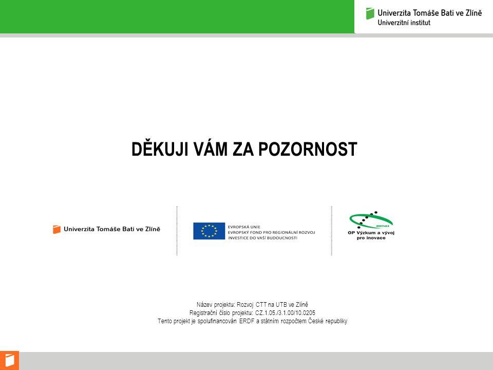 DĚKUJI VÁM ZA POZORNOST Název projektu: Rozvoj CTT na UTB ve Zlíně Registrační číslo projektu: CZ.1.05./3.1.00/10.0205 Tento projekt je spolufinancová