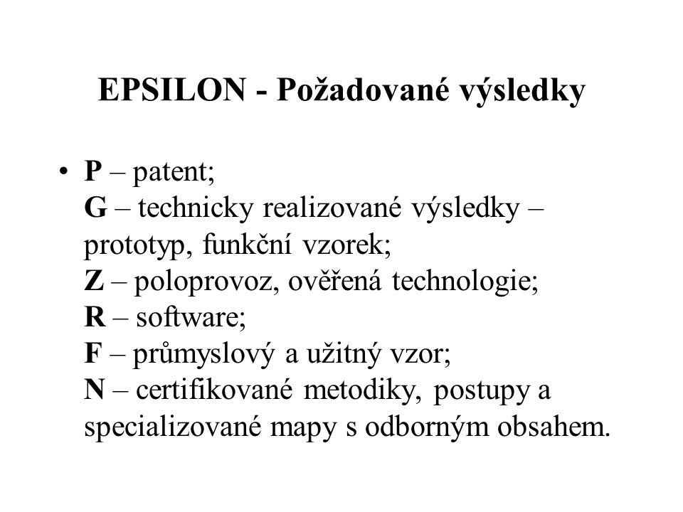 EPSILON - Požadované výsledky P – patent; G – technicky realizované výsledky – prototyp, funkční vzorek; Z – poloprovoz, ověřená technologie; R – software; F – průmyslový a užitný vzor; N – certifikované metodiky, postupy a specializované mapy s odborným obsahem.