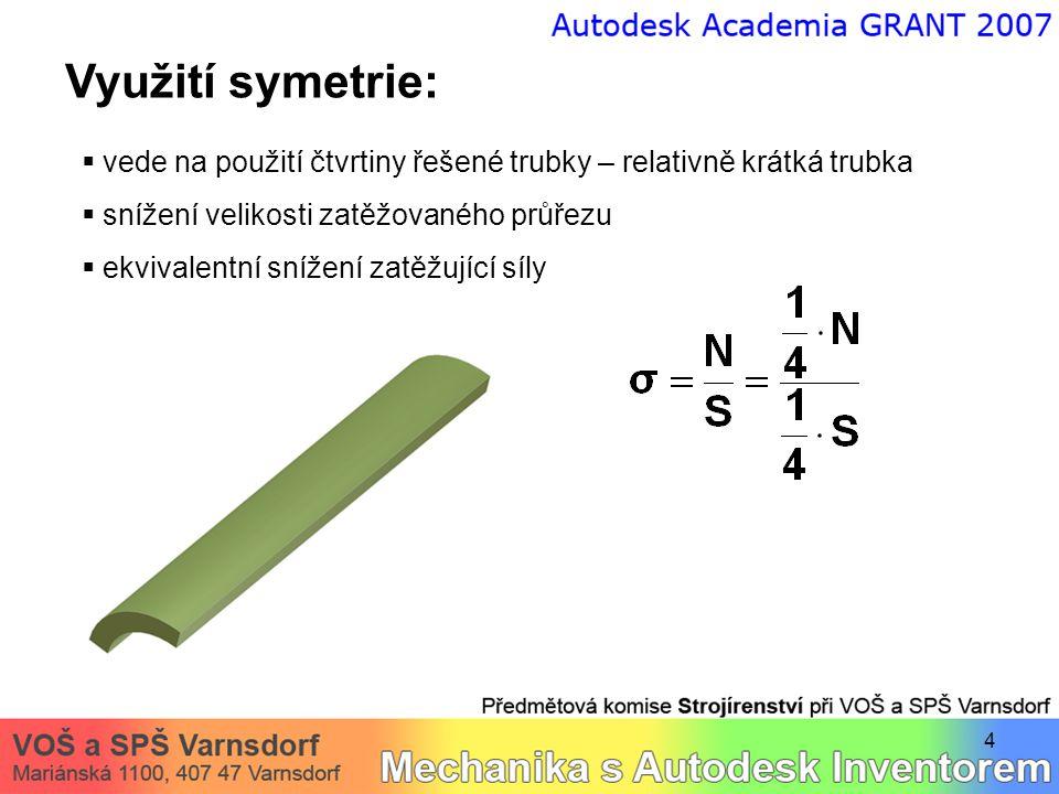 4 Využití symetrie:  vede na použití čtvrtiny řešené trubky – relativně krátká trubka  snížení velikosti zatěžovaného průřezu  ekvivalentní snížení zatěžující síly