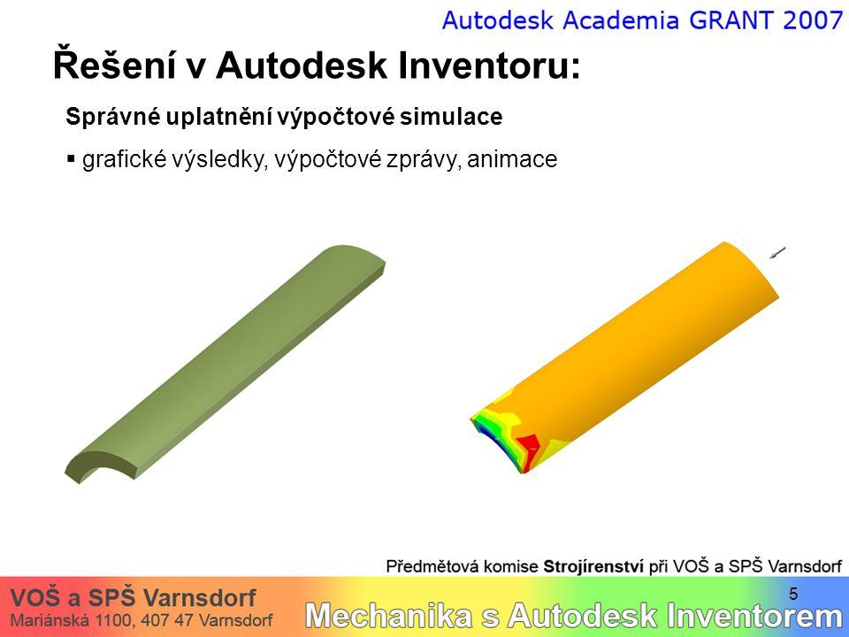 6 Řešení v Autodesk Inventoru: Správné uplatnění výpočtové simulace  grafické výsledky, výpočtové zprávy, animace první výpočet upřesnění (nejvyšší kvalita sítě)