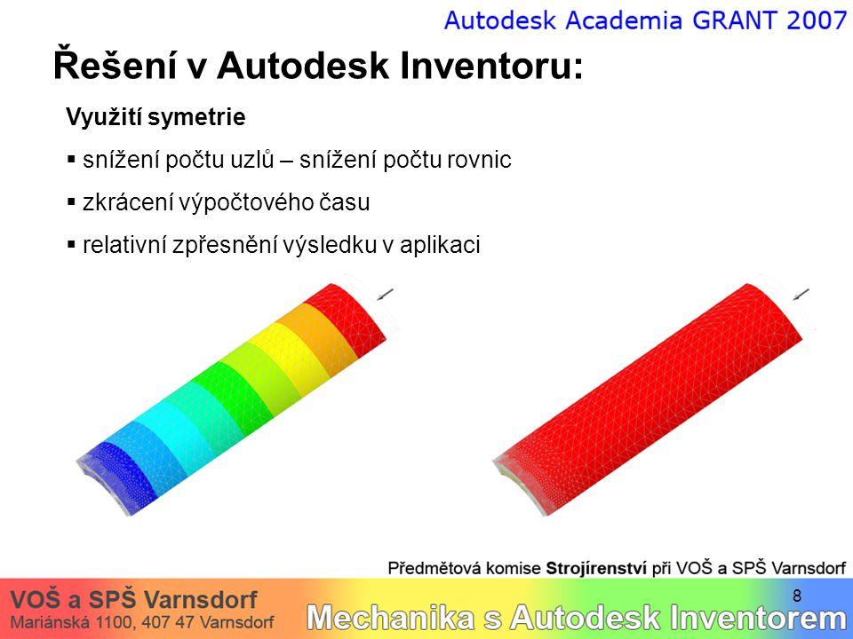 8 Řešení v Autodesk Inventoru: Využití symetrie  snížení počtu uzlů – snížení počtu rovnic  zkrácení výpočtového času  relativní zpřesnění výsledku v aplikaci