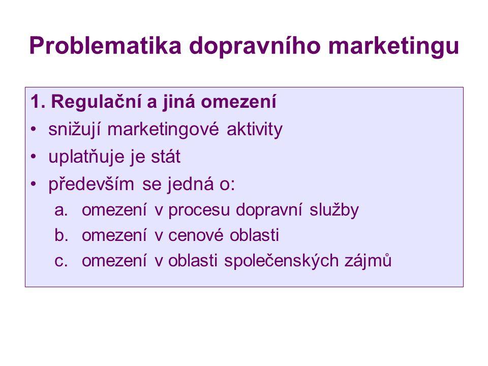 Problematika dopravního marketingu 1. Regulační a jiná omezení snižují marketingové aktivity uplatňuje je stát především se jedná o: a.omezení v proce