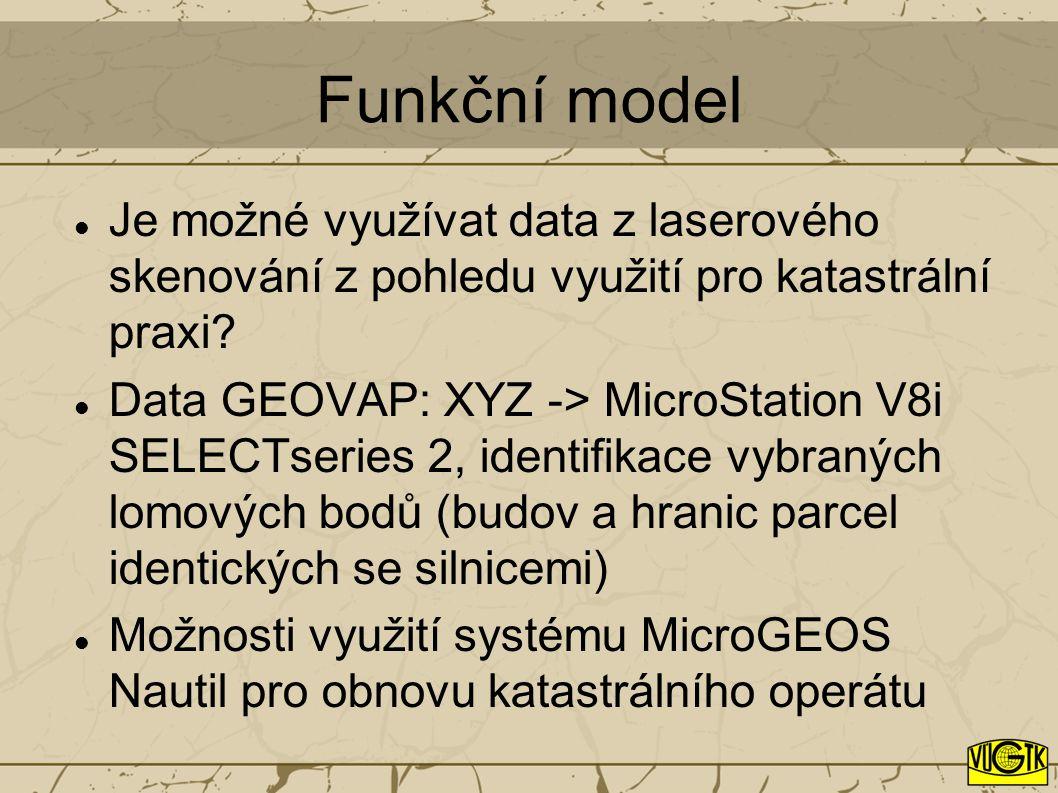 Funkční model Je možné využívat data z laserového skenování z pohledu využití pro katastrální praxi? Data GEOVAP: XYZ -> MicroStation V8i SELECTseries