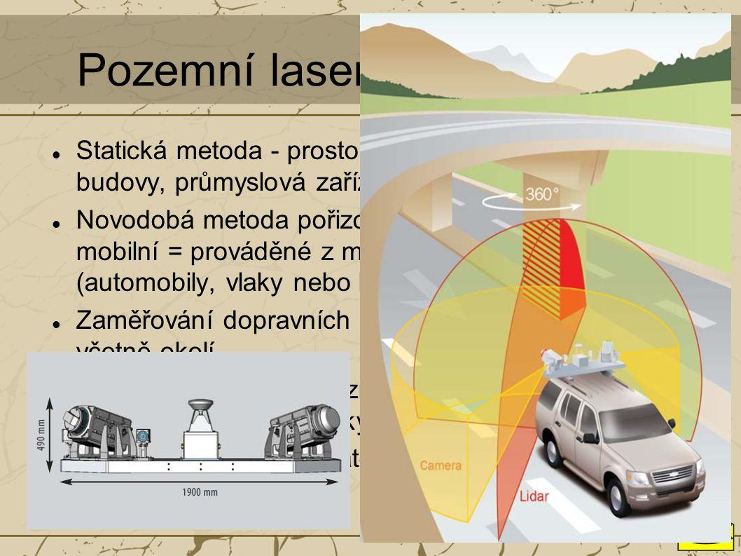 Pozemní laserové skenování Statická metoda - prostorově složité objekty - budovy, průmyslová zařízení, tunely apod. Novodobá metoda pořizování mračen