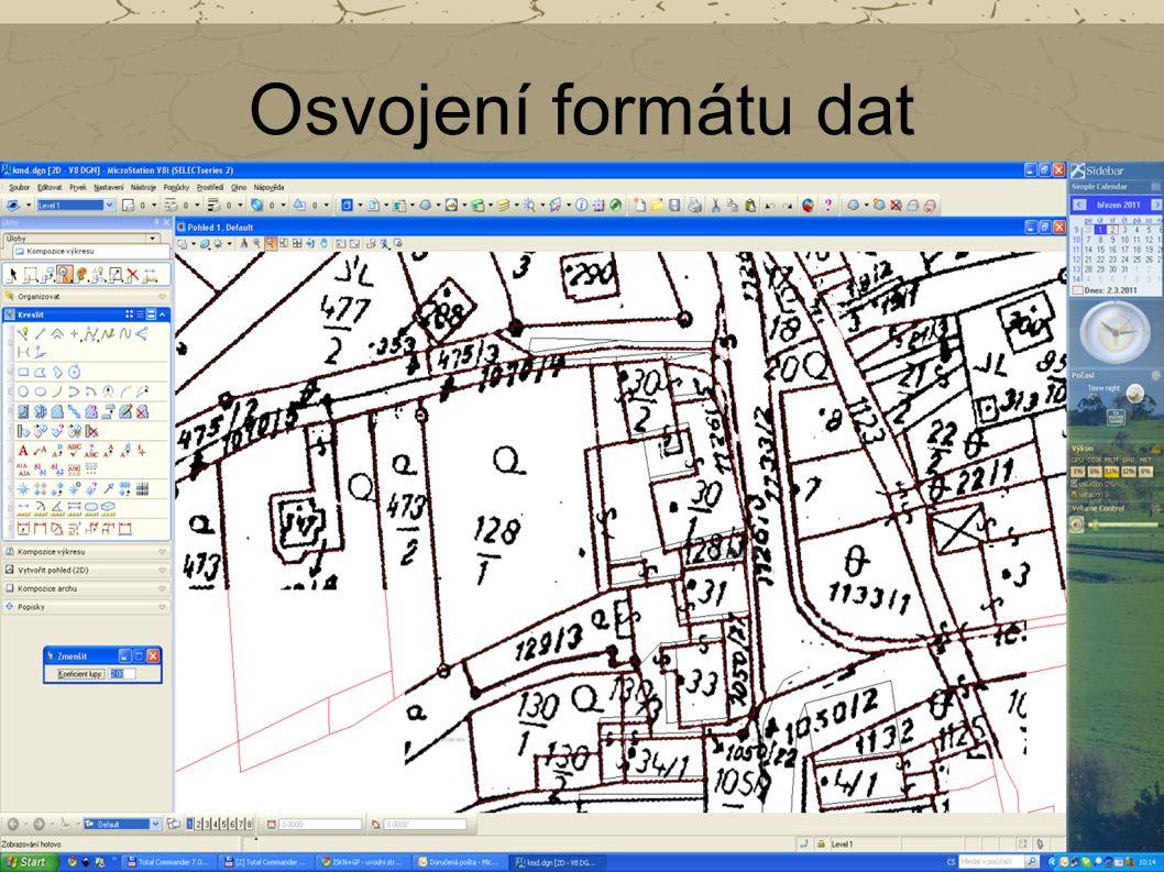 Osvojení formátu dat Mračna bodů - různé formáty (POD, LAS, PTS, PTX, FLS, FWS ad.). XYZ – standardní formát POD – vlastní formát společnosti Pointool