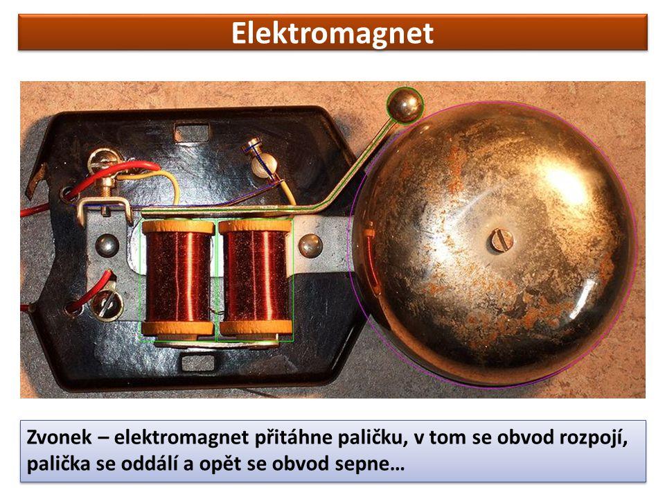 Elektromagnet Zvonek – elektromagnet přitáhne paličku, v tom se obvod rozpojí, palička se oddálí a opět se obvod sepne…