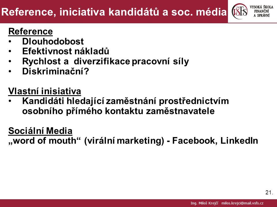 21.Reference, iniciativa kandidátů a soc.