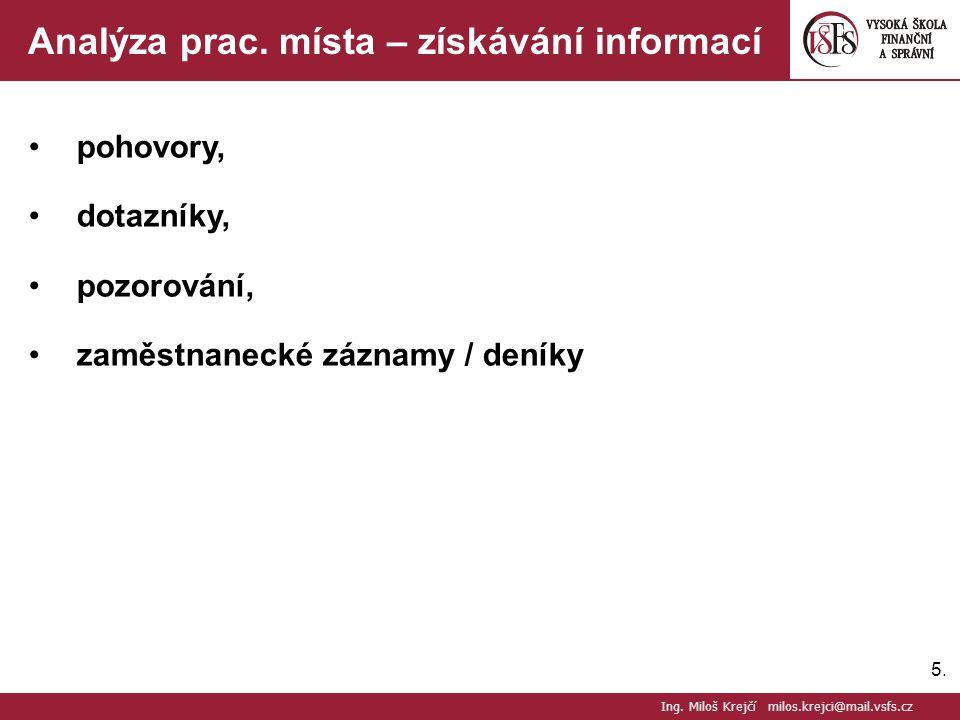 5.5. Analýza prac. místa – získávání informací pohovory, dotazníky, pozorování, zaměstnanecké záznamy / deníky Ing. Miloš Krejčí milos.krejci@mail.vsf
