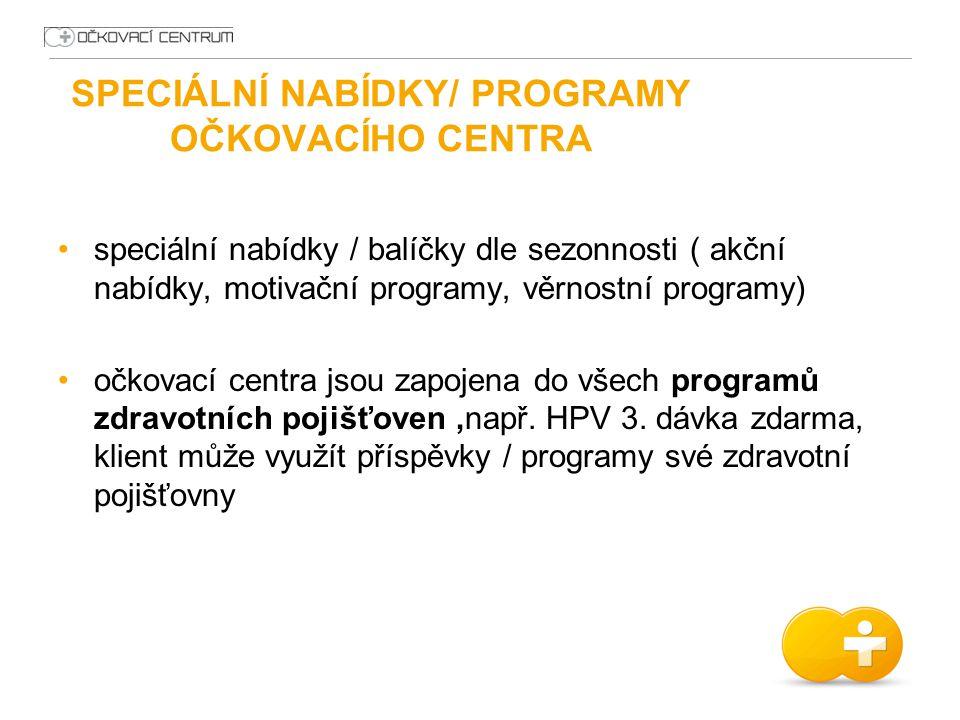 SPECIÁLNÍ NABÍDKY/ PROGRAMY OČKOVACÍHO CENTRA speciální nabídky / balíčky dle sezonnosti ( akční nabídky, motivační programy, věrnostní programy) očko