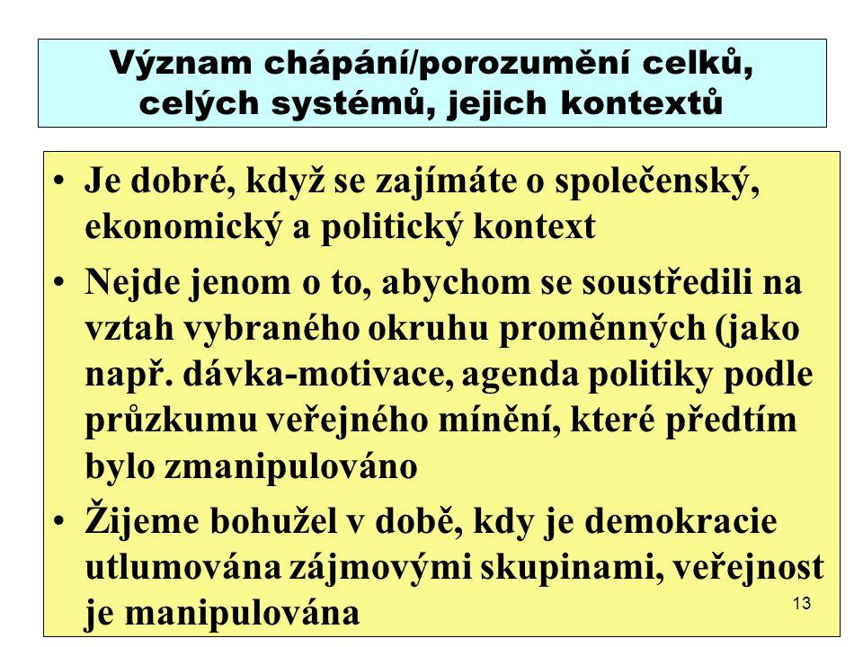 Význam chápání/porozumění celků, celých systémů, jejich kontextů Je dobré, když se zajímáte o společenský, ekonomický a politický kontext Nejde jenom