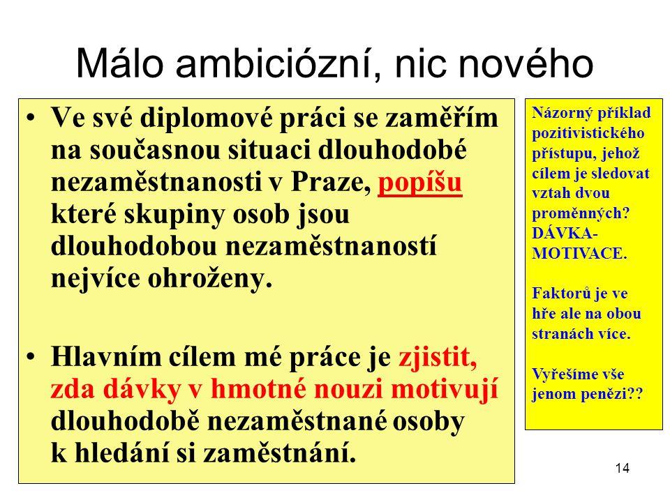 Málo ambiciózní, nic nového Ve své diplomové práci se zaměřím na současnou situaci dlouhodobé nezaměstnanosti v Praze, popíšu které skupiny osob jsou