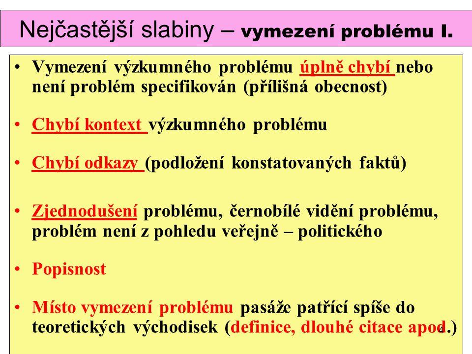 Nejčastější slabiny – vymezení problému I. Vymezení výzkumného problému úplně chybí nebo není problém specifikován (přílišná obecnost) Chybí kontext v
