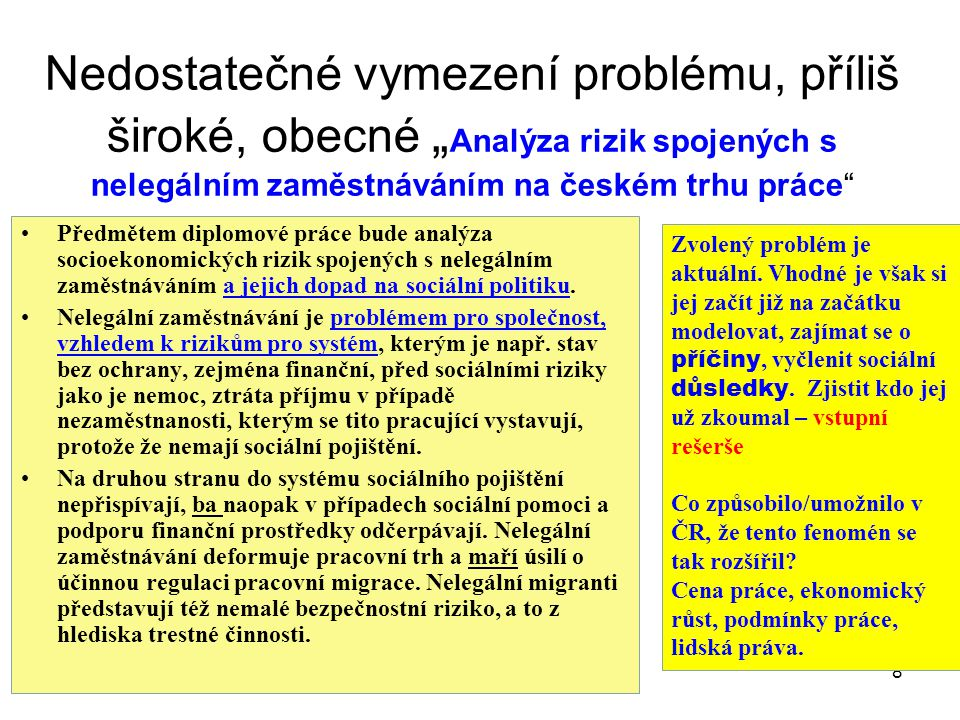 """Nedostatečné vymezení problému, příliš široké, obecné """" Analýza rizik spojených s nelegálním zaměstnáváním na českém trhu práce"""" Předmětem diplomové p"""