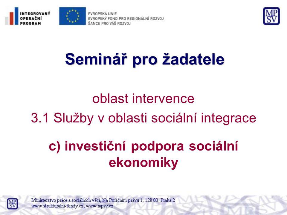 Seminář pro žadatele oblast intervence 3.1 Služby v oblasti sociální integrace c) investiční podpora sociální ekonomiky