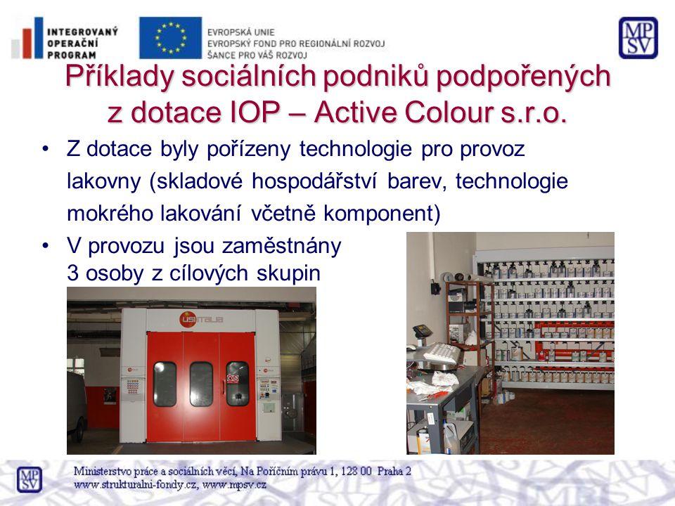 Příklady sociálních podniků podpořených z dotace IOP – Active Colour s.r.o.