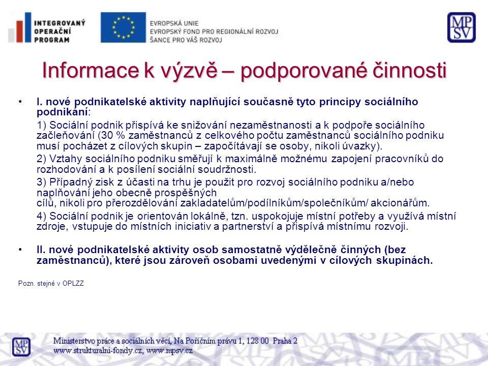 Informace k výzvě – podporované činnosti I.