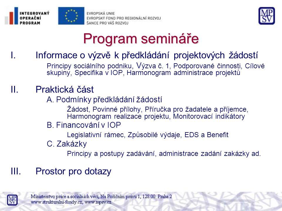 Program semináře I.Informace o výzvě k předkládání projektových žádostí Principy sociálního podniku, V ýzva č.
