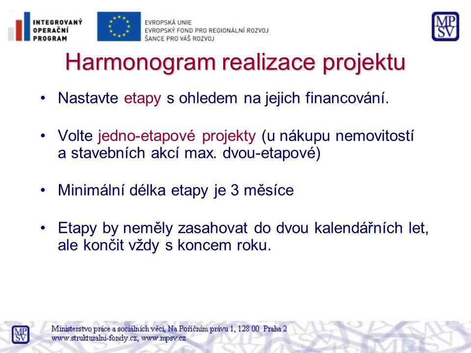 Harmonogram realizace projektu Nastavte etapy s ohledem na jejich financování.