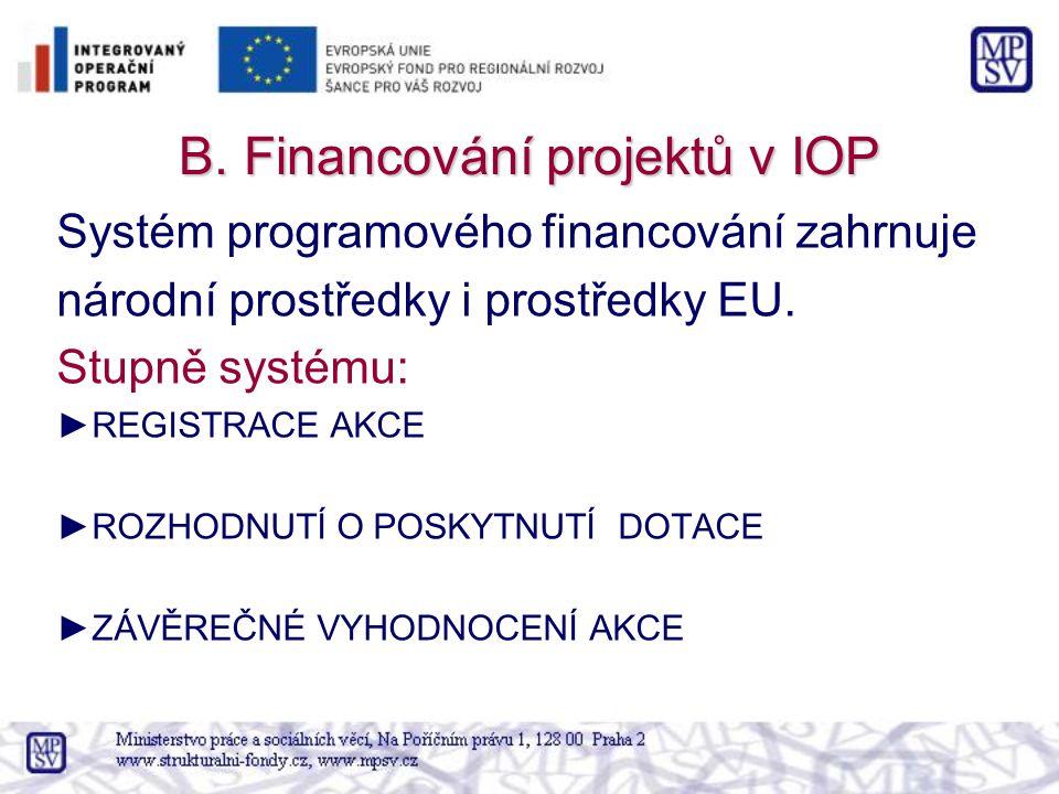 B. Financování projektů v IOP Systém programového financování zahrnuje národní prostředky i prostředky EU. Stupně systému: ►REGISTRACE AKCE ►ROZHODNUT