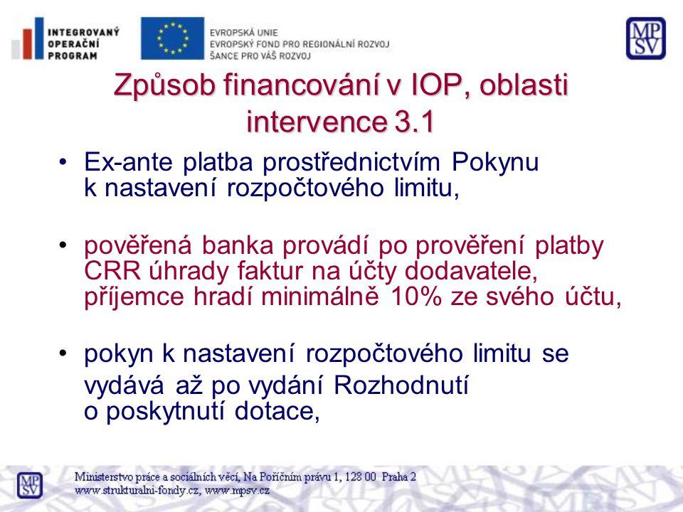 Způsob financování v IOP, oblasti intervence 3.1 Ex-ante platba prostřednictvím Pokynu k nastavení rozpočtového limitu, pověřená banka provádí po prověření platby CRR úhrady faktur na účty dodavatele, příjemce hradí minimálně 10% ze svého účtu, pokyn k nastavení rozpočtového limitu se vydává až po vydání Rozhodnutí o poskytnutí dotace,