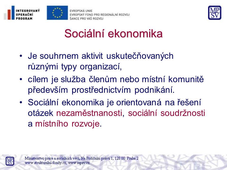 Sociální ekonomika Je souhrnem aktivit uskutečňovaných různými typy organizací, cílem je služba členům nebo místní komunitě především prostřednictvím podnikání.