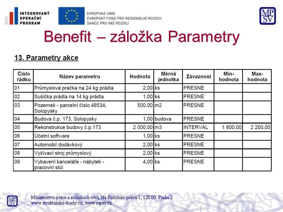 Benefit – záložka Parametry