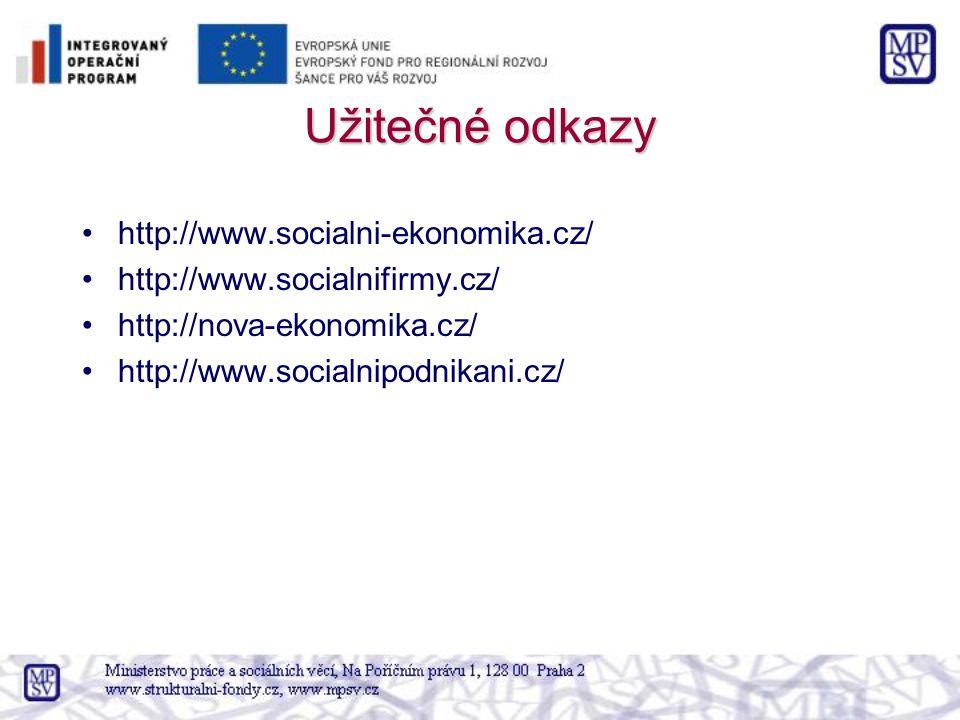 Užitečné odkazy http://www.socialni-ekonomika.cz/ http://www.socialnifirmy.cz/ http://nova-ekonomika.cz/ http://www.socialnipodnikani.cz/