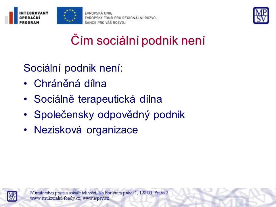 Čím sociální podnik není Sociální podnik není: Chráněná dílna Sociálně terapeutická dílna Společensky odpovědný podnik Nezisková organizace