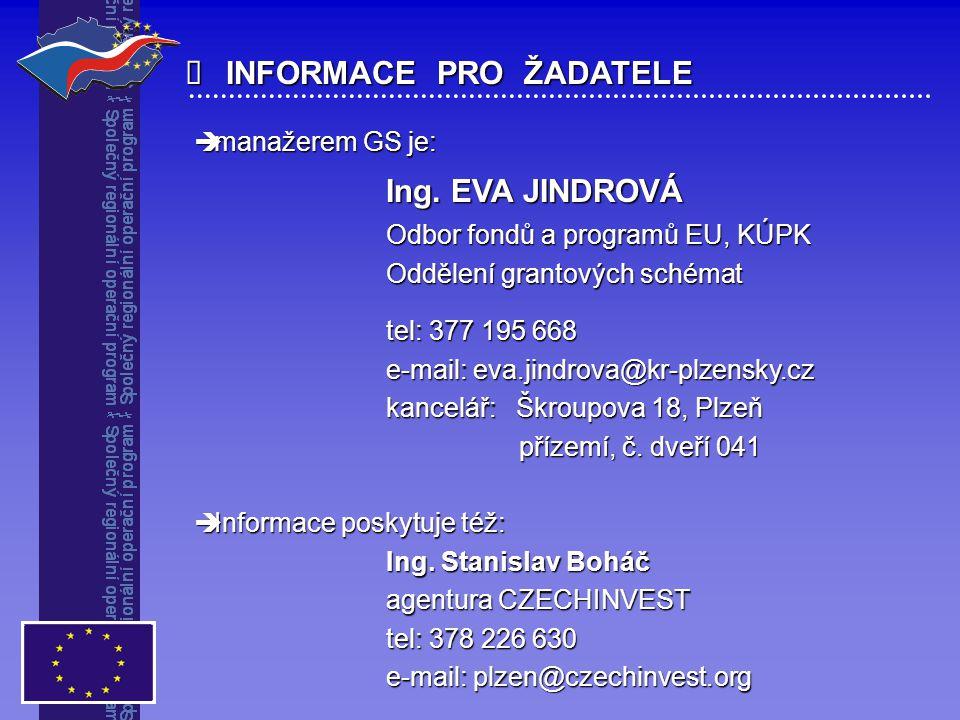  INFORMACE PRO ŽADATELE  manažerem GS je: Ing. EVA JINDROVÁ Odbor fondů a programů EU, KÚPK Oddělení grantových schémat tel: 377 195 668 e-mail: eva