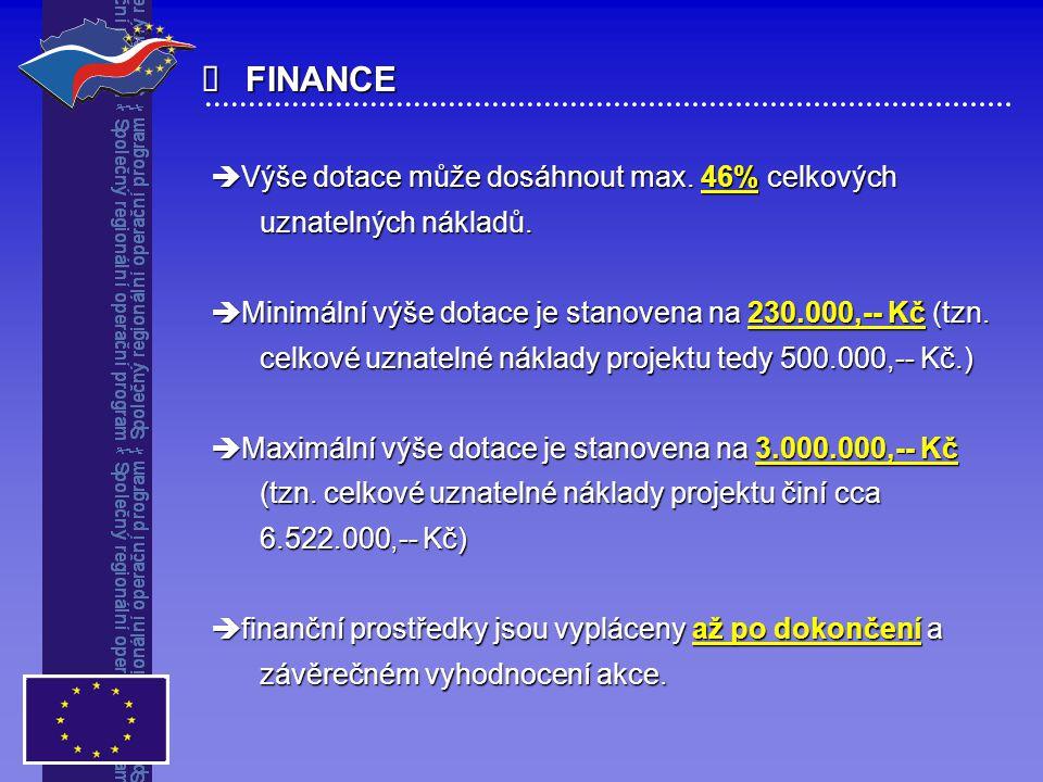 FINANCE  Výše dotace může dosáhnout max. 46% celkových uznatelných nákladů. uznatelných nákladů.  Minimální výše dotace je stanovena na 230.000,--
